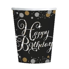Vasos Happy Birthday (8) Prismatic Plata/ Oro (255ml)