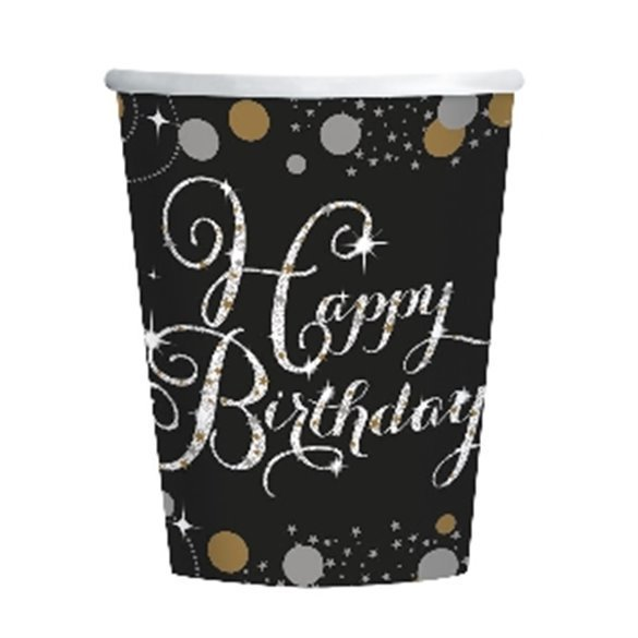 Vasos Happy Birthday (8) Prismatic Plata/ Oro (255ml)