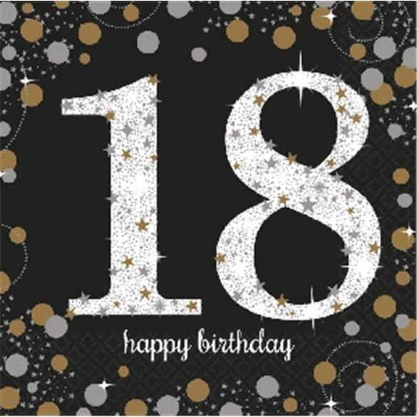 ✅Servilleta Happy 18 Birthday (16) Prismatic Plata/oro por solo 2,38€ en Masfiesta.es. Venta de Artículos de fiesta y decora...