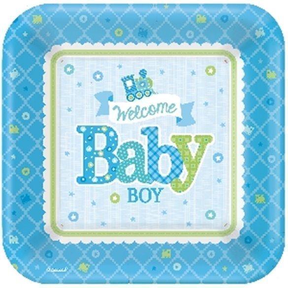 ✅Platos Bienvenido Baby Boy de 27 cm Aprox (8) por solo 4,04€ en Masfiesta.es. Venta de Artículos de fiesta y decoración