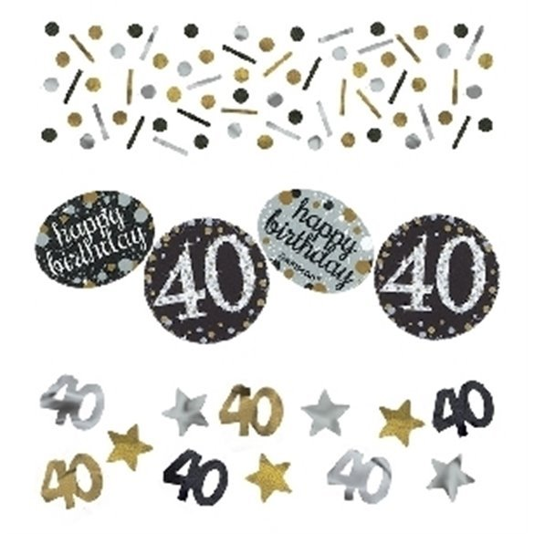 Confeti Happy 40 Birthday Prismatic Plata/oro (34gr)