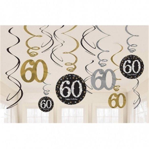 ✅Decoracion Colgante (6x2) Prismatic Plata/oro 60 Cumpleaños por solo 4,05€ en Masfiesta.es. Venta de Artículos de fiesta y ...