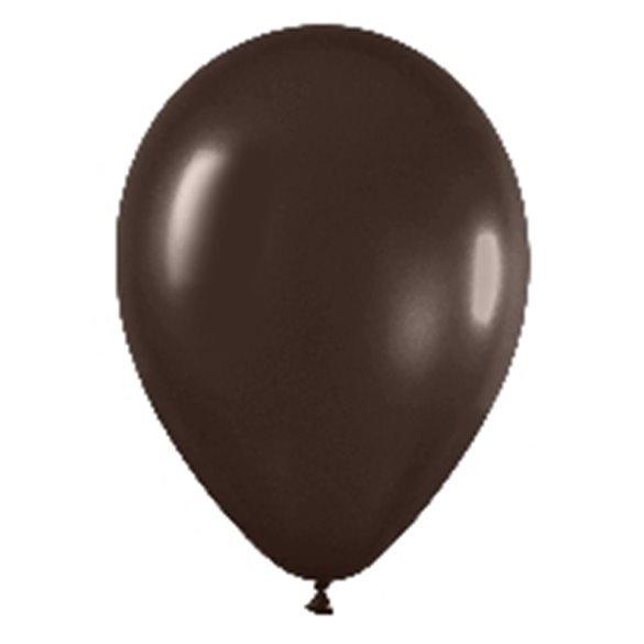 Globos Marron Chocolate Metalizado R12 de 30 cm aprox (50 ud)