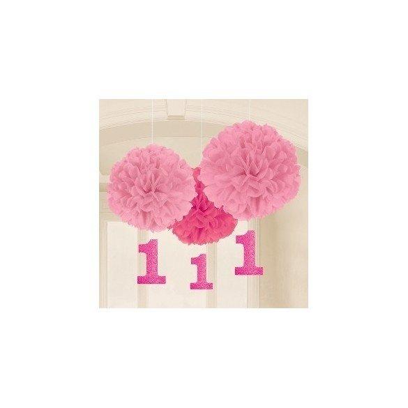 Fluffy Pompom Colgantes Color Rosa Con Numero 1 (3 de 40cm y Nº de 17.8 cm )