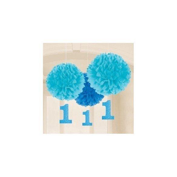 Fluffy Pompom Colgantes Color Azul Con Numero 1 (3 de 40cm y Nº de 17.8 cm )