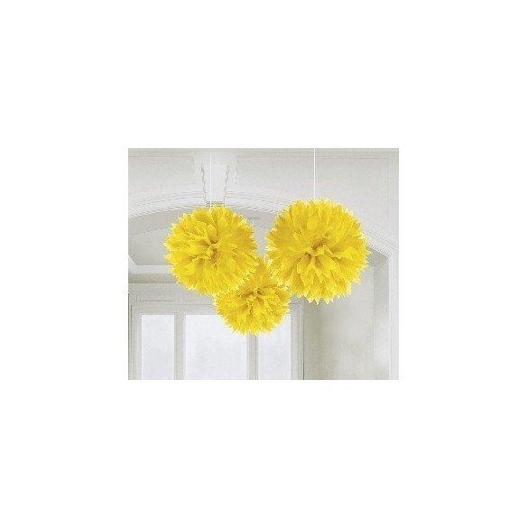 ✅Fluffy PomPom Colgante Color Amarillo (3 de 40,6 cm) por solo 8,05€ en Masfiesta.es. Venta de Artículos de fiesta y decoración