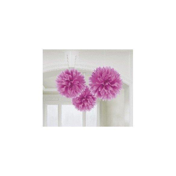 ✅Fluffy PomPom Colgante Color Rosa (3 de 40,6 cm) por solo 8,05€ en Masfiesta.es. Venta de Artículos de fiesta y decoración