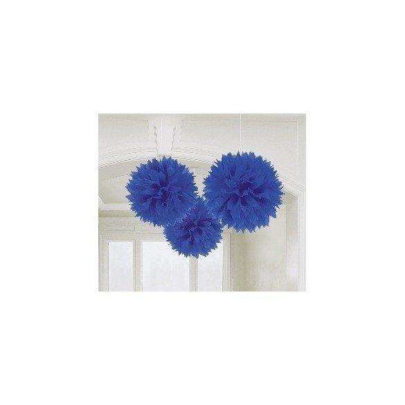 ✅Fluffy PomPom Colgante Color Azul Fuerte (3 de 40,6 cm) por solo 8,05€ en Masfiesta.es. Venta de Artículos de fiesta y deco...