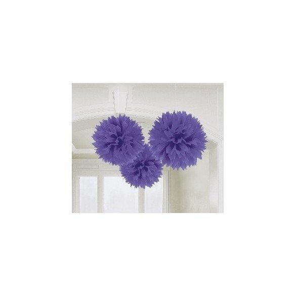 ✅Fluffy PomPom Colgante Color Morado (3 de 40,6 cm) por solo 8,05€ en Masfiesta.es. Venta de Artículos de fiesta y decoración