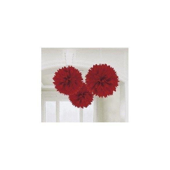 ✅Fluffy PomPom Colgante Color Rojo (3 de 40,6 cm) por solo 8,05€ en Masfiesta.es. Venta de Artículos de fiesta y decoración