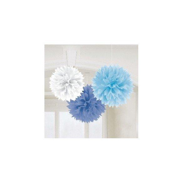 Fluffy PomPom Colgante Color Azules / Blanco (Contiene: 1 x 40cm, 1 x 33cm, 1 x 23cm)