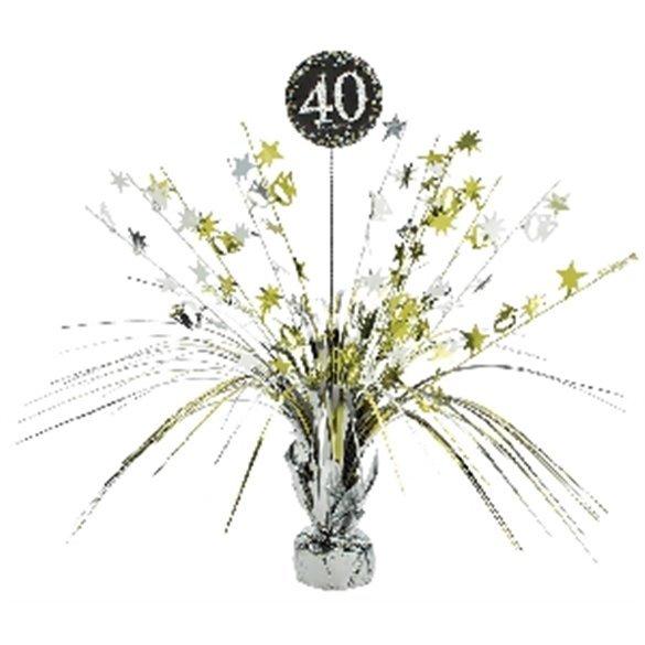 Centro de mesa 40 cumpleaños plata/oro