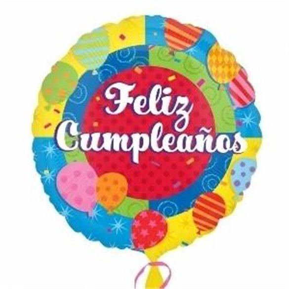 Globo Feliz Cumpleaños foil palito