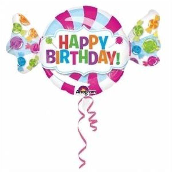 Globo Happy Birthday Forma Caramelo