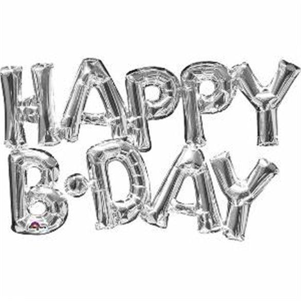 Globo Frase Happy Birthday Plata