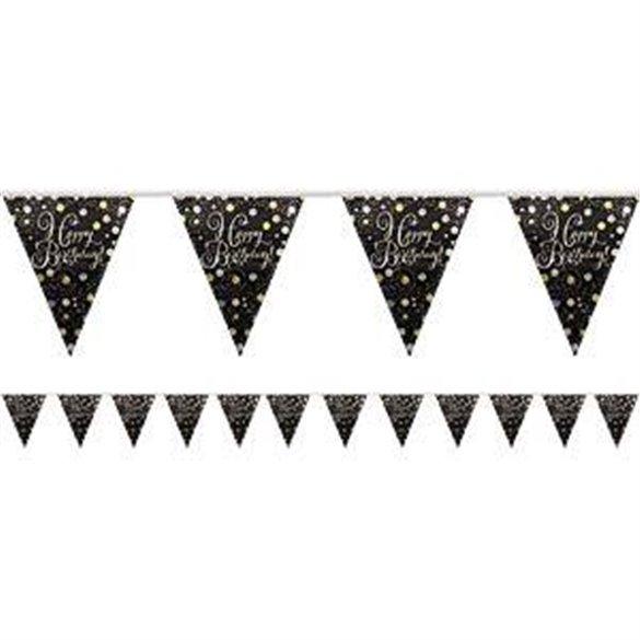 ✅Banderin triangulos Happy Birthday Prismatic Plata/oro 4 metros por solo 2,25€ en Masfiesta.es. Venta de Artículos de fiest...