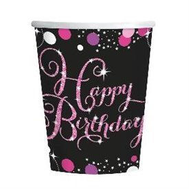 Vasos Happy Birthday Prismatic Rosa/Negro (8)