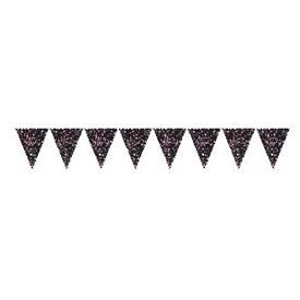 Banderin triangulos Happy Birthday Prismatic Rosa/Negro 4m9901184 Amscan