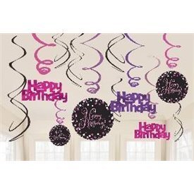 Decoracion Colgante Happy Birthday Prismatic Rosa/Negro (6x2)9901183 Amscan