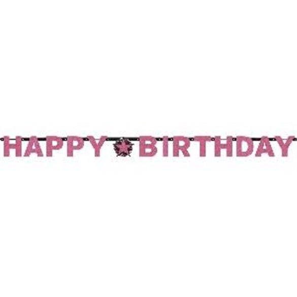 Guirnalda Banderin Happy Birthday Prismatic Rosa/Negro
