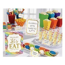 Kit decoracion Buffet Colores (12 Piezas 3 Grandes 3 Medianos 6 Pinchos)