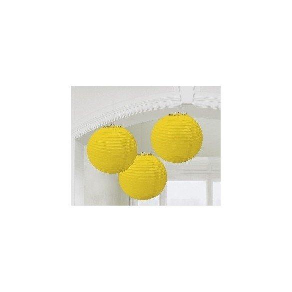 ✅Linternas Colgantes Color Amarillo (3 de 20,4 cm) por solo 7,95€ en Masfiesta.es. Venta de Artículos de fiesta y decoración