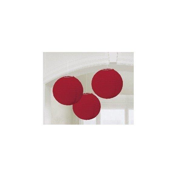 ✅Linternas Colgantes Color Rojo (3 de 20,4 cm) por solo 7,16€ en Masfiesta.es. Venta de Artículos de fiesta y decoración