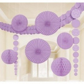 Kit Decoracion Damasco Color Lila