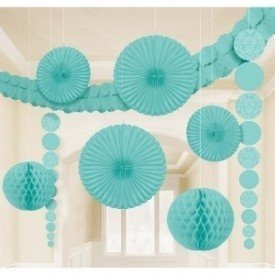 Kit Decoracion Damasco Color Azul Pastel