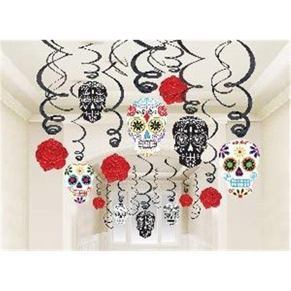 ✅Decoracion Espirales Colgante Calavera Mexicana (30) por solo 7,65€ en Masfiesta.es. Venta de Artículos de fiesta y decoración