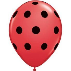 Globos de latex Rojos con puntos negros (25)QL-29511 Qualatex