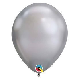 "Globos CHROME QUALATEX Silver de 11""- 28cm (25)"