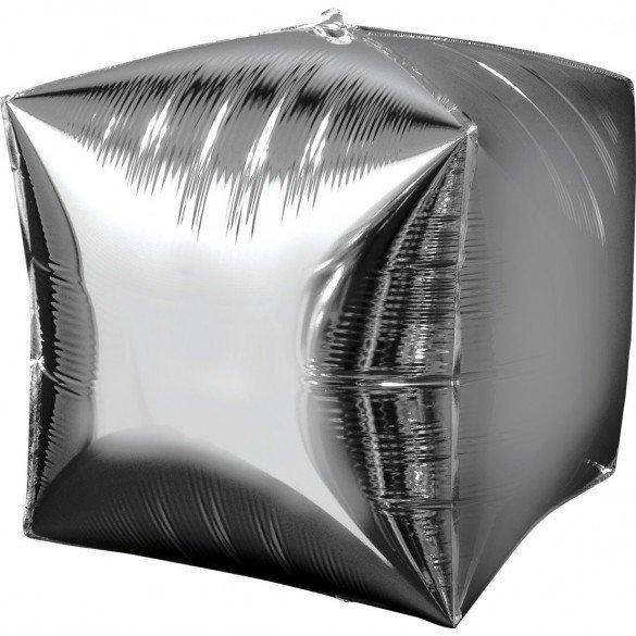 Globo Forma Cubo de 38 cm aprox Color PLATA