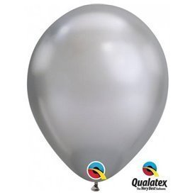 "Globos CHROME QUALATEX Silver de 11""- 28cm (100)"