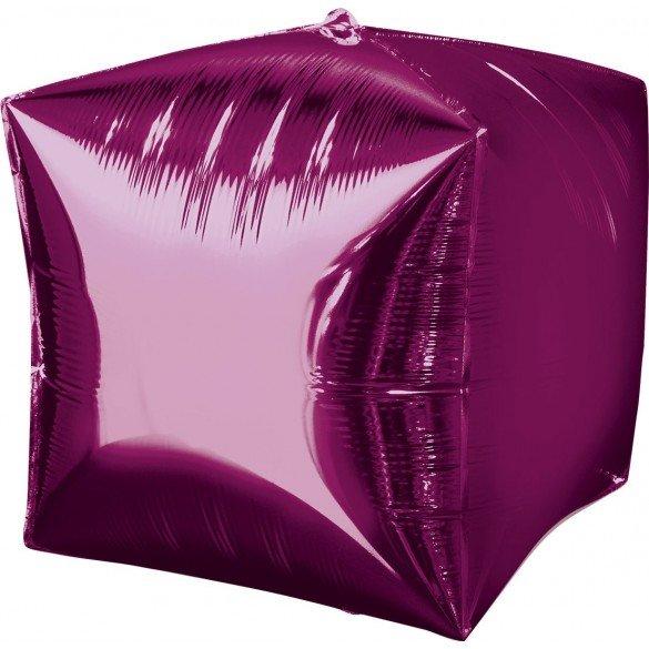 Globo Forma Cubo de 38 cm aprox Color FUCSIA