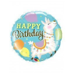 Globo foil Llama Happy Birthday de 45cm