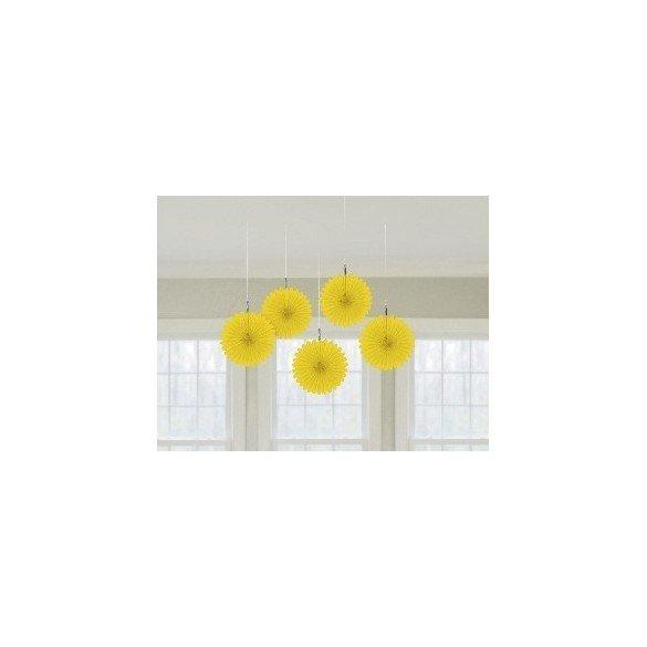 ✅Farolillos Abanico color Amarillo (5 de 15,2 cm) por solo 2,65€ en Masfiesta.es. Venta de Artículos de fiesta y decoración