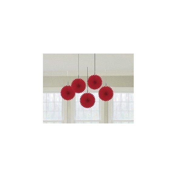 Farolillos Abanico color Rojo (5 de 15,2 cm)