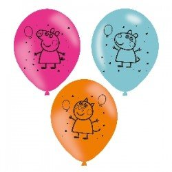 Globos latex Peppa Pig de 27cm (6)