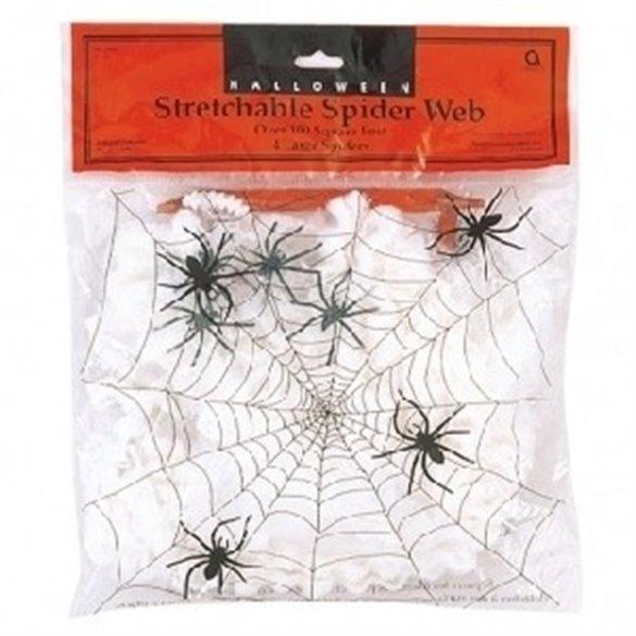 Tela de araña con arañitas